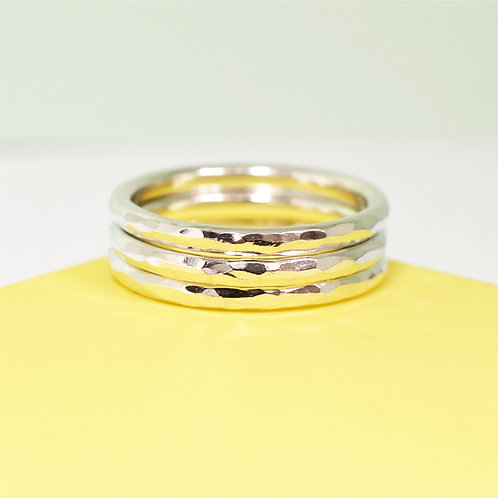 Simply Hammered Silver Stacking Rings