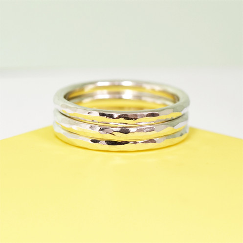 3177f9f0ba61c Simply Hammered Silver Stacking Rings