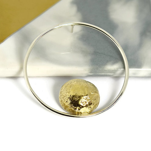Handmade Geometric Moon Brooch