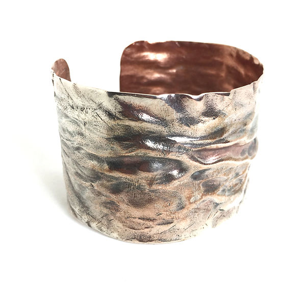 Air chased copper cuff,silver plated