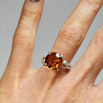 Silver ring with smoky topas and diamonds