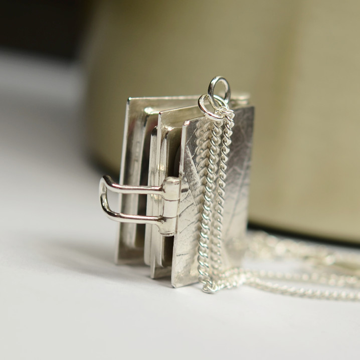 Four Page Silver Book Locket
