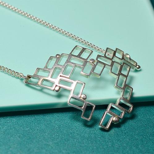 'Mondrian' Handmade Large Silver Pendant Necklace