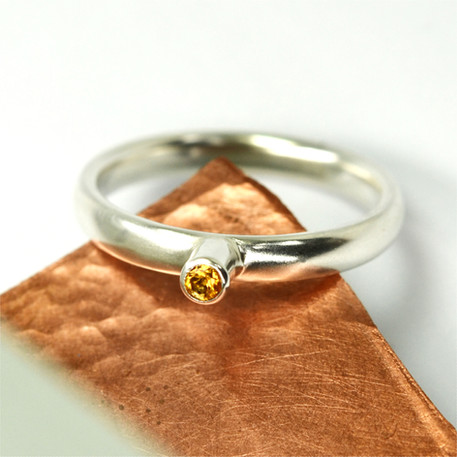 Silver ring with gemstone of your choice