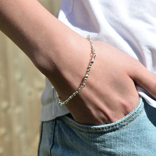 Handmade Solid Silver Pebble Bracelet