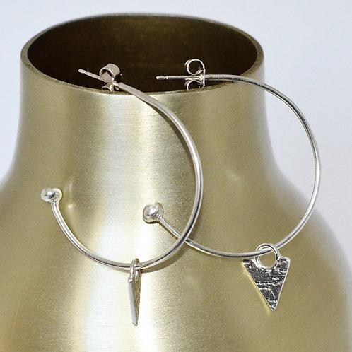 Handmade Textured Silver Hoop Earrings