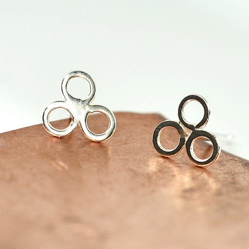 Handmade Three Circle Stud Earrings