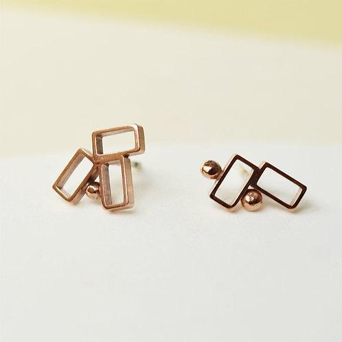 Geometric Handmade Irregular Silver Stud Earrings