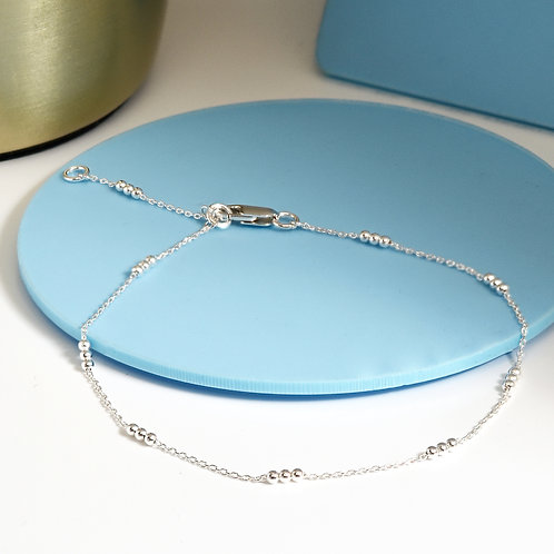Delicate Silver Ball Chain Anklet