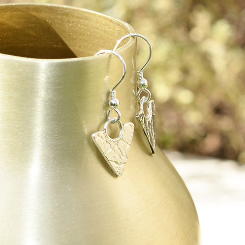 Handmade Textured Silver Hook Earrings