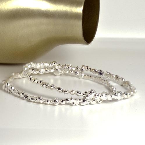 Handmade Solid Sterling Silver Pebble Bangle