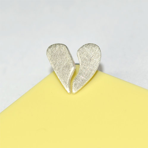 'Mending A Broken Heart' Silver Stud Earrings