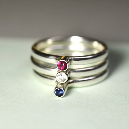 Handmade Silver Stacking Ring Set with a Choice of Stones