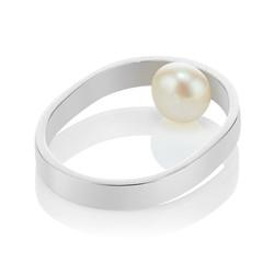 hidden pearl silver ring