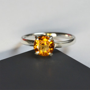 Silver ring with smoky topaz