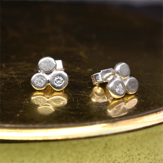 Silver studs with stone