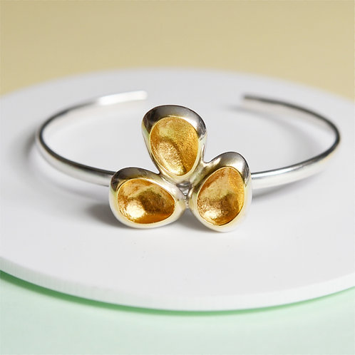 Sterling Silver Open Bangle With Gold 'Hidden Treasure'