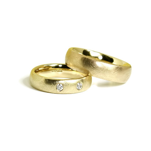 Commission of 9ct Gold Weddings Rings with Diamonds