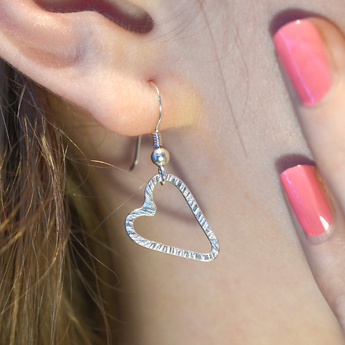 Handmade Hammered Silver Heart Hook Earrings