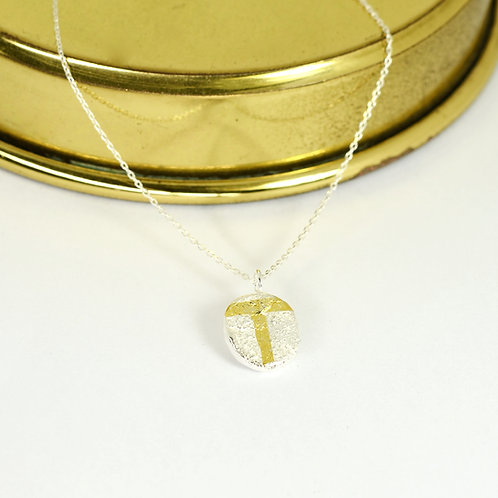 Personalised Textured Silver Necklace With Gold