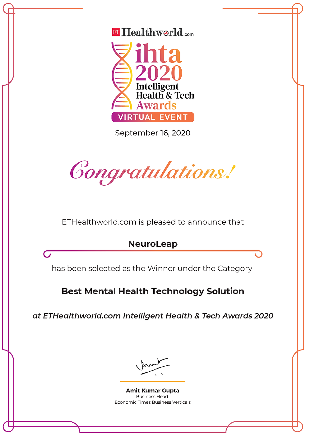 The Economic Times awards NeuroLeap the Best Mental Health Technology solution