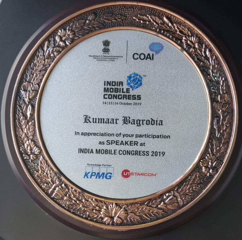 Kumaar Bagrodia, NeuroLeap speaks at India Mobile Congress, organized by COAI & Government of India