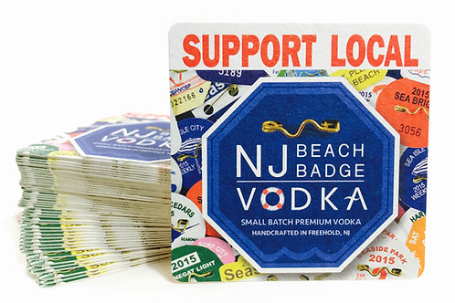 Support Local NJ Beach Badge Vodka Coasters