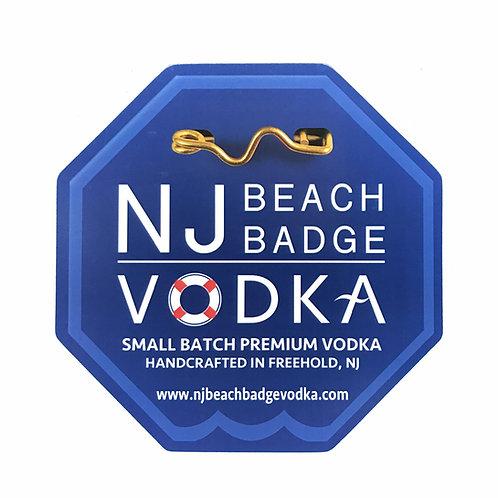 NJ Beach Badge Vodka Car Magnet