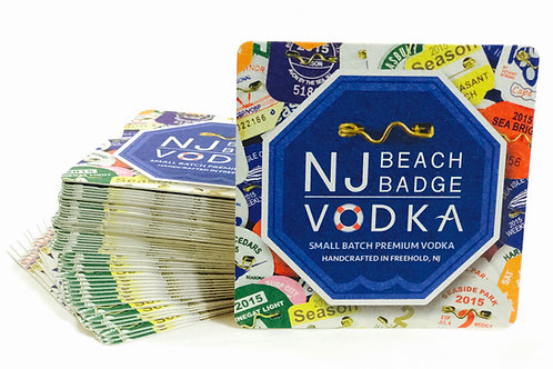 NJ Beach Badge Vodka Coasters