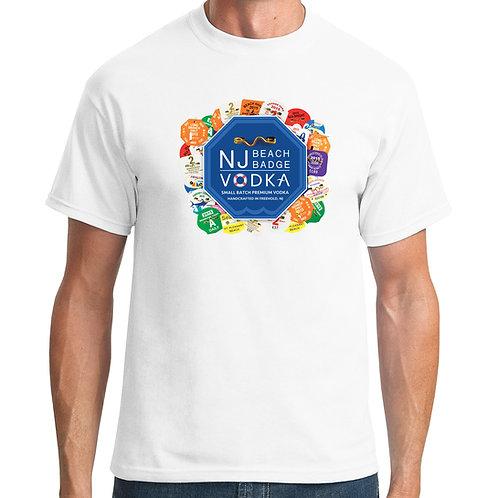 Short Sleeve - Unisex NJ Beach Badge Vodka Logo with Beach Badges