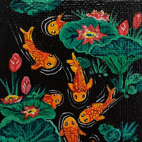 Goldfish in Black Pond