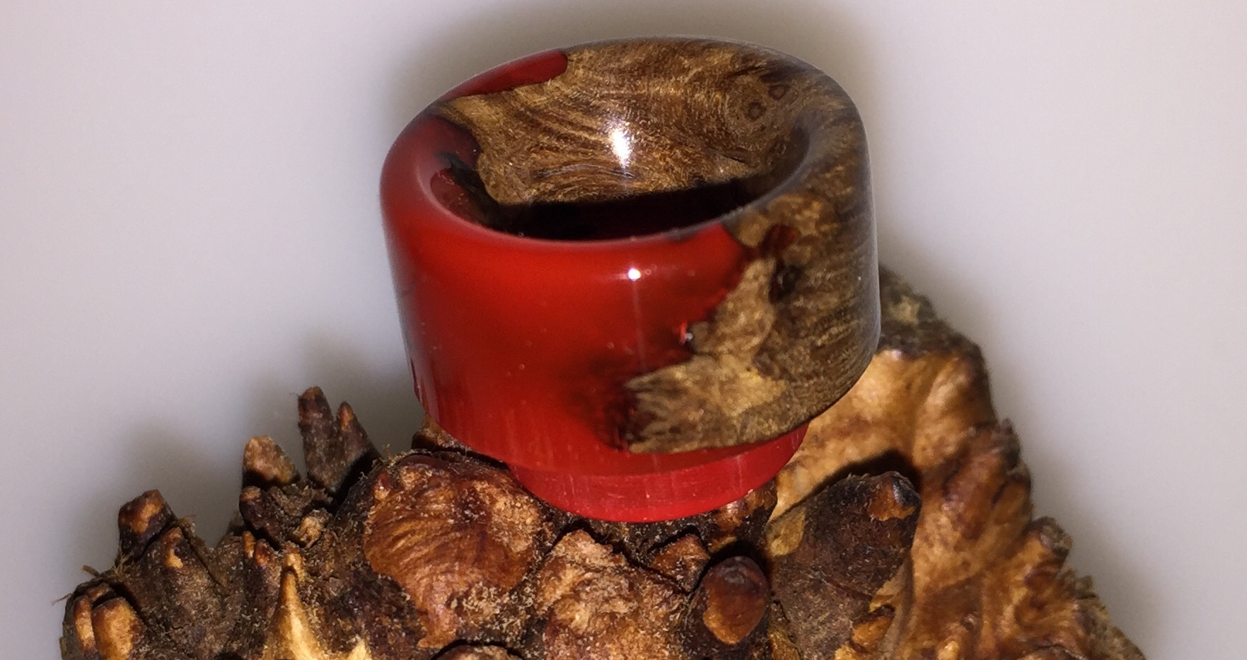 Stabilised wood and red resin