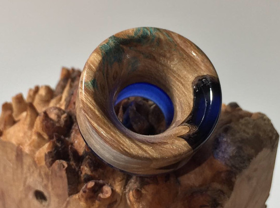 Stabwood and dark blue resin