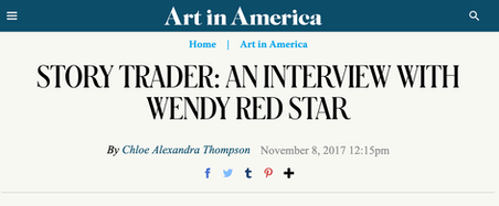 Interview with Wendy Red Star for Art in America 2017