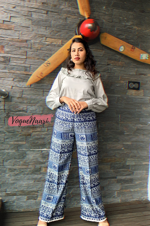 Grey top & Elephant print boho pants