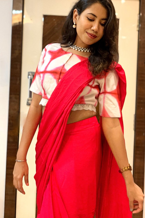 Red Draped Saree with Tie & dye Blouse