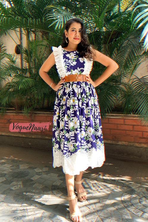 Blue Floral Lace short dress