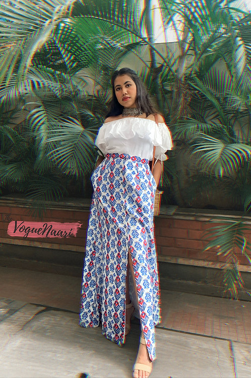 White off-shoulder top & ikat button down skirt