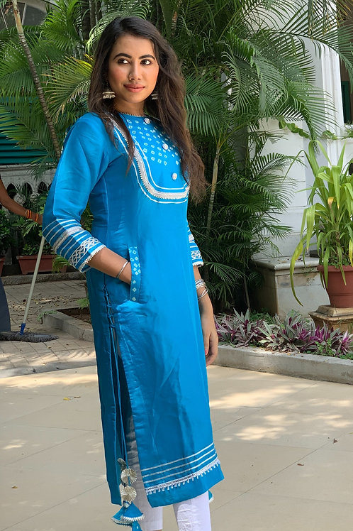 Silk bandhani kurti with gota work