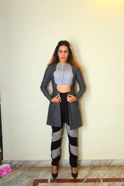 Jaali work pants and tweed scallop blazer