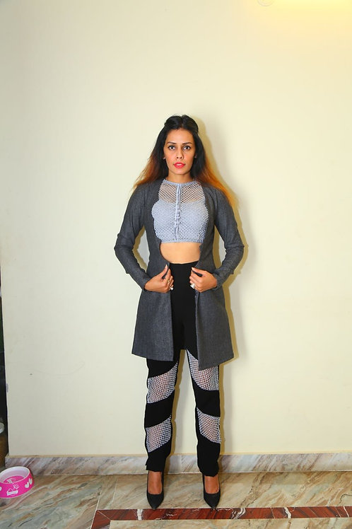Jaali work pants, croptop & Tweed Jacket
