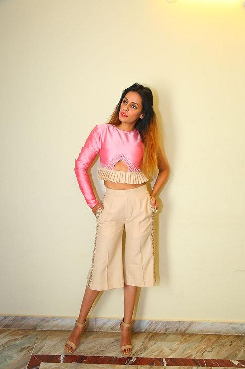 Blush Pink minar sleeve top & Beige Culottes