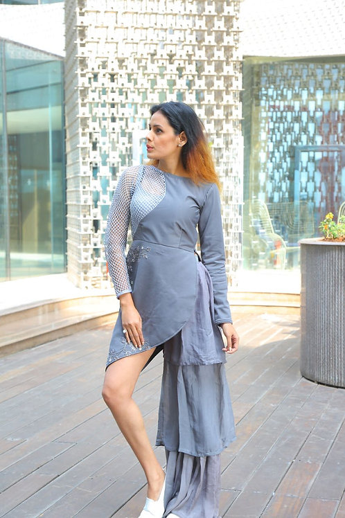 Grey jaali work top with one sided frilled pants