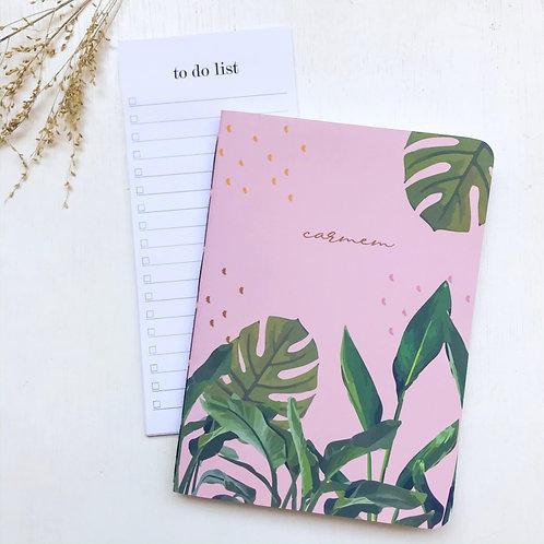 Kit Caderninho + to do list - Tropical rosa