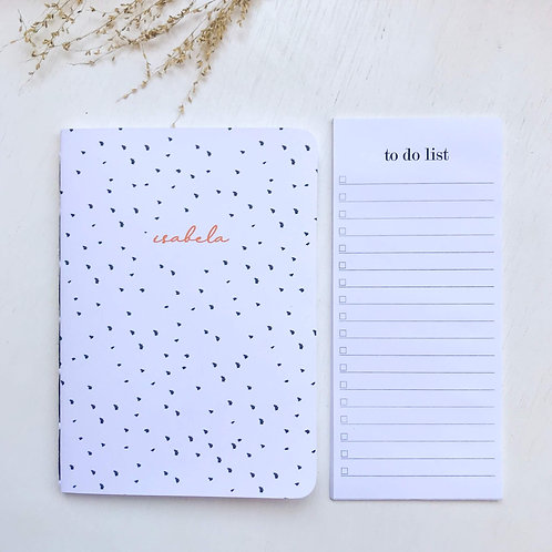 Kit Caderninho + to do list - Pintadinho branco