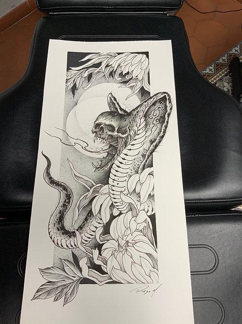 """DESSIN  ORIGINAL """"Snake & Skull"""""""