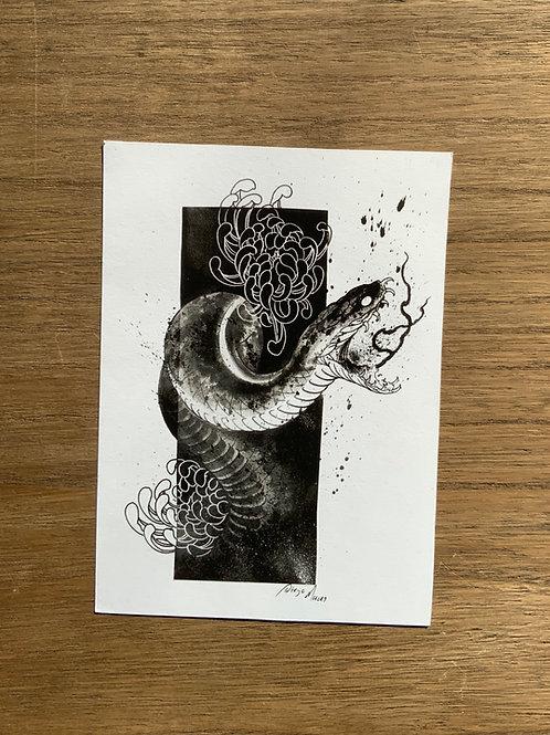 "PRINT ""Snake & Chrysanthemum"""