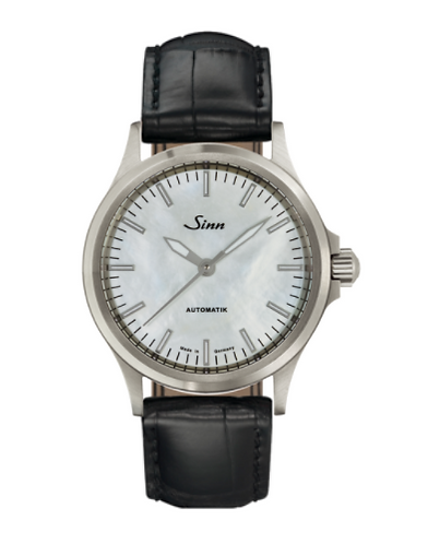 Sinn - 556 I Mother fo Pearl W - Black Leather Strap options - 556.0102