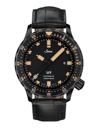 Sinn - U1 S E - Black Leather Strap options -1010.023