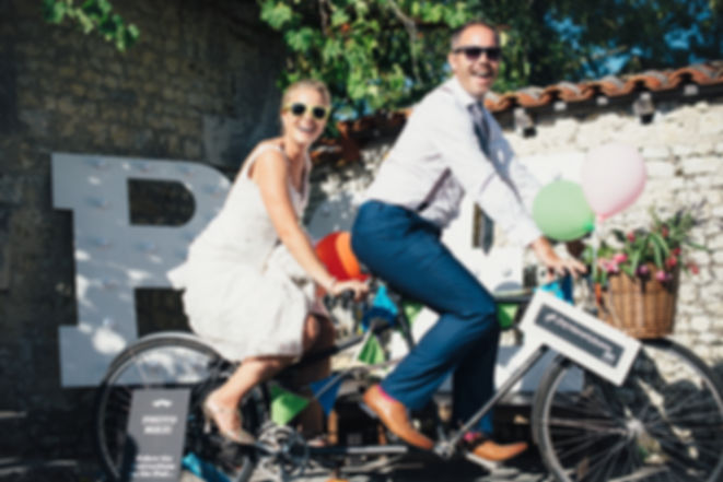 bride and groom tandem wedding bicycle